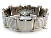 "High-Polished Stainless Steel Iced ""Ice Wave"" Lab Made Diamond Bracelet - 8.5"" long"