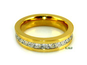 """Gold Stainless Steel """"360 Princess Cut"""" Lab Made Diamond Eternity Ring"""