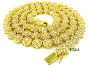 """1 Row 36"""" Gold and White Lab Made Diamond 3D Cluster Chain (Clear-Coated)"""