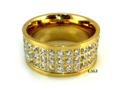 "Gold Stainless Steel ""360 Triple Row Micro-Pave"" Lab Made Diamond Eternity Ring"
