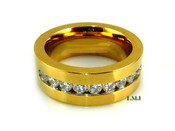 """Gold Stainless Steel """"Classy 9"""" Lab Made Diamond Eternity Ring"""