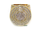 "Gold tone White Lab Made Diamond ""I am King"" Ring (Clear-Coated)"