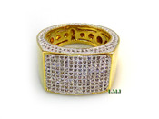 """Gold tone White Lab Made Diamond """"GQ"""" Ring (Clear-Coated)"""