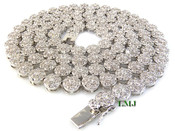 "1 Row 36"" All White Lab Made Diamond 3D Cluster Chain (Clear-Coated)"