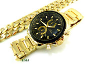 """COMBO DEAL! Gold Stainless Steel """"Business Man"""" watch + 24"""" Cuban Box Link 12mm Chain (Clear-Coated)"""