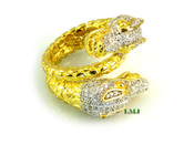 "Gold tone 925 Silver ""Double Dragon"" White Lab Made Diamond Ring"