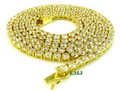 "1 Row 36"" Gold and White Lab Made Diamond Tennis Chain (Clear-Coated)"