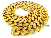 "30"" 18K Gold/Stainless Steel  ""496 GRAMS"" Thick Cuban Link Chain - 3/4"" wide (Clear-Coated)"
