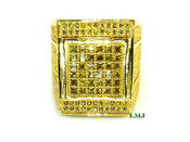 "All Yellow Lab Made Diamond ""Aztec"" Ring (Clear-Coated)"