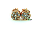 "Rose Gold/925 Silver ""Cluster"" Micro-Pave Lab Made Diamond Earrings - 8mm"
