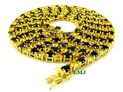 "1 Row 36"" Black and Yellow Lab Made Diamond Tennis Chain (Clear-Coated)"
