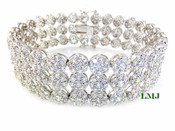 """3 Row White Lab Made Diamond 8.5"""" 3D Cluster Bracelet (Clear-Coated)"""