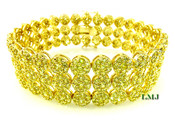 "3 Row Yellow Lab Made Diamond 8.5"" 3D Cluster Bracelet (Clear-Coated)"