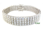 "4 Row White Lab Made Diamond 8"" Tennis Bracelet (Clear-Coated)"