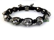 Black with White Eyes Skull Bead Bracelet  (Clear-Coated)