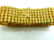 "6 Row Yellow Lab Made Diamond 8.5"" Tennis Bracelet (Clear-Coated)"