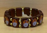 Wooden Stretch Bracelet  with images of Pope Francis