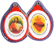"Sacred Heart of Jesus Badge, Paper or Laminated Badges-Make Selection! Text on front: Apostleship of Prayer; League of the Sacred Heart. Text on back: Cease, the Heart of Jesus is with Me; Sacred Heart of Jesus, Thy Kingdom Come.  Size: 2 5/8"" x 1 7/8"""