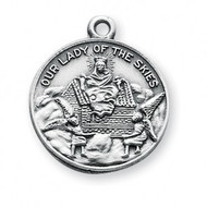 """15/16"""" Sterling Silver Our Lady of Loreto Medal. A 18"""" rhodium plated curb chain is included. Deluxe Velour Gift Box. Made in the USA."""