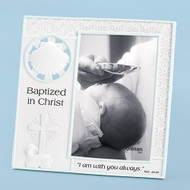 """Boy/Blue Matte Frame. White shell at top left of frame, decorative cross & lamb, with the words  """"Baptized in Christ, I am with you always"""".   Holds a 4"""" x 6"""" photo. Measurements: 7.25""""H X 7.25""""W""""H."""