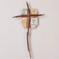 "15.50"" Crosswords Wall Cross with the Serenity Prayer.  Resin/Wire/Metal"
