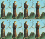 "St Francis paper holy card from the Bonella Line.  Bonella artwork is known throughout the world for its beautiful renditions of the Christ, Blessed Mother and the Saints. 8 1/2"" x 11"" sheets with tab that separates into 8- 2 1/2"" x 4 1/4"" cards.  No charge for personalization.  Can be laminated at an additional cost.  ( Price per sheet of 8)"