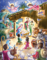 "Children gather in the manger as angels hover above in this traditional Nativity Advent calendar. Countdown to Christmas by opening a window each day during Advent to reveal a special picture. The front is accentuated with glitter and bible text that follows the story of the Nativity is presented on the back of each window. This Advent calendar measures 11""x14"". Easy to hang or display anywhere! Artwork by Randy Wollenmann."
