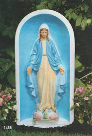 """One Piece Cement Blessed Mother and Grotto.  Dimensions: 30'H x 14.5""""W x 6.5""""L. Shown in detailed stain. Available in natural color."""