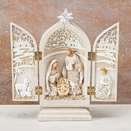 "8.5"" Triptych Holy Family in a papercut design. dimensions: 8.46""H x 1.97""W x 7.87""L. Materials: Resin/Domolite"