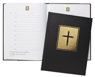 """This 8 1/2"""" x 11"""" Guest Book has 95 pages with 8 entries for guests names, email and address. Beautifully bound in sturdy black leatherette. Inspiration Psalms on each page."""