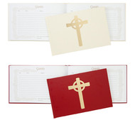 """This 9 1/2"""" x 2"""" Guest Book has 112 acid free pages for plenty of guests and many occasions. Beautifully bound in red or cream color leatherette with Celtic Cross on cover. Inspiration Psalms on each page."""
