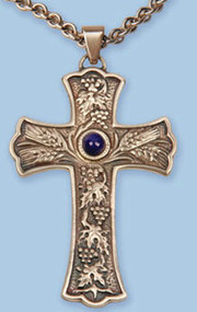 "2-3/8"" x 3-1/2 Oxidized silver Pectoral Cross with a Grape, leaf and wheat design with blue stone on a 36"" rhodium plated chain"