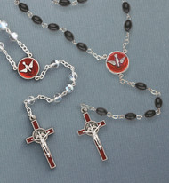 Perfect gift for the Confirmundi. In Crystal or Black, with red enameled holy spirit center and crucifix.