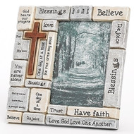 """8.25""""H Crossword Frame. Holds a 4"""" x 6"""" picture. Made of a resin/stone mix."""