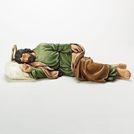 """St. Joseph received messages from God while he was sleeping. For this reason, Pope Francis writes down all his problems and puts them underneath a statue of Sleeping Joseph that he keeps in his room. This is in hopes that St. Joseph can help Pope Francis resolve any issues he may have that are troubling him while he sleeps. This process has given the Pope profound peace that he can't explain except that it is the Grace of God. We can do the same with our troubles also! Sleeping Joseph figure measures 22.5""""W X 5.5""""H and is made of resin/stone mix."""