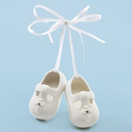 """Baby's White Porcelain 3"""" Baptism Booty Ornaments. Dimensions: 3""""H 3""""W 1.25""""D"""
