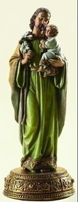 """Saint Joseph Figurine with Base. Drawer at base opens and contains scroll with prayer that reads: """"St. Joseph whose protection is so great, so strong, so prompt before the throne of God, I place in you all my interests and desires...Resin/Stone Mix, 10.125"""" Height, 4"""" Width, 4"""" Diameter."""