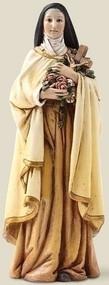 "Saint Therese 6"" Statue. Patron Saint of Florists and Aviators. Resin/Stone Mix. 6.13""H x 2.25""W x 2""D"
