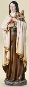"""Saint Therese 14 Inch Statue~ Patron Saint of Florists and Aviators. Resin/Stone Mix. Dimensions: 13.75""""H x 5""""W x 4""""D"""