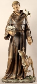 "Saint Francis 36.5 Inch Statue, Patron Saint of Animals & Ecology. Materials:  Resin/Stone Mix. Dimensions: 36.5""H x 16.5""W x 13.5""D"