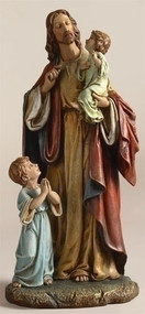 "Jesus with Children Figure. Materials: Resin/Stone Mix. Dimensions: 10""H x 4.75""W x 4.5""D"