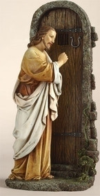 "Jesus Knocking at the Door 12in Statue. Materials: Resin/Stone Mix. Dimensions: 11.75""H x 5.75""W x 3.5""D"