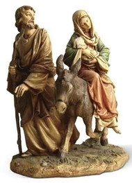 "Holy Family-Flight into Egypt Figure. Resin/Stone Mix. 9""H x 8""W x 5""D"