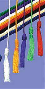 "#40 Rayon: Cinctures are made of rayon and are 158"" long. Tassel ends. Please specify color: white, red, green, purple, and gold."