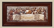 "7"" Framed Last Supper Plaque.  Dimensions: 7""H 14.38""W 0.75""D. Resin/Stone Mix."