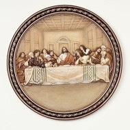 "10.5"" Last Supper Wall Plate. Resin/Stone Mix. 10.5""H x 10.5""W x 0.625""D"