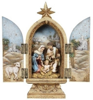 "10""H Holy Family Triptych. Materials are a Resin/Stone Mix. Dimensions: 10""H x 4.5""W x 2.38""D"