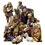 "10 Piece Ornate Nativity  ~ Delicately painted 4"" to 19.5"" ornate figures made of a  resin/stone mix.  Ten piece set includes Baby Jesus, Blessed Mother, St Joseph, the Adoring Angel , the 3 Wisemen, Sheherd Boy, Sheep and Camel."