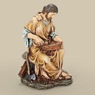 "10.25"" The Carpenter Figure. Resin/Stone Mix. Dimensions: 10.25""H x 7""W x 6.5""D"