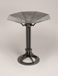 """Brazier measurements in its entirety: 39"""" height, 34"""" diameter, 18"""" base. Brushed stainless steel bowl, welded seams. Matte black finish on stand. 2706T-Top Bowl only. Top only - to be used with No 3925 Advent Wreath Base"""